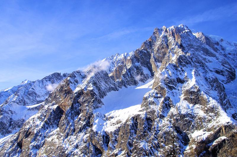 Mont Blanc. Skiing in Courmayeur in Italy with the Mont Blanc in the background stock photography