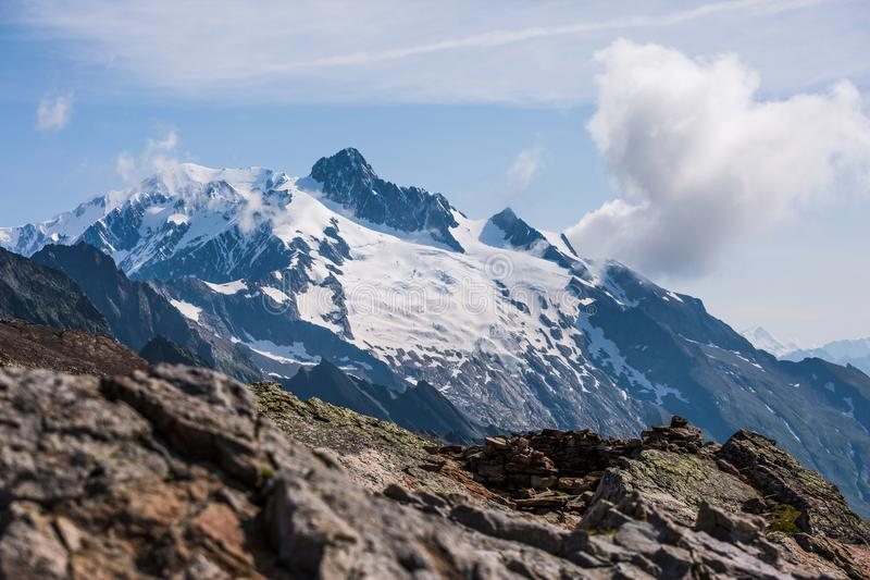 Mont-Blanc Snowy Mountain and Rocky Landscape on a Sunny Day stock images