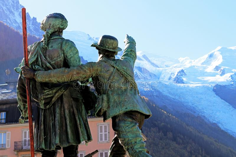 Mont Blanc summit First Ascent Chamonix monument Mountain Conquest history. Jacques Balmat at the side of Horace Benedict de Saussure - left, The Father of royalty free stock images