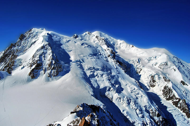 Mont Blanc. The summit of Mont Blanc in the Mont Blanc Massif, the Alps stock photography