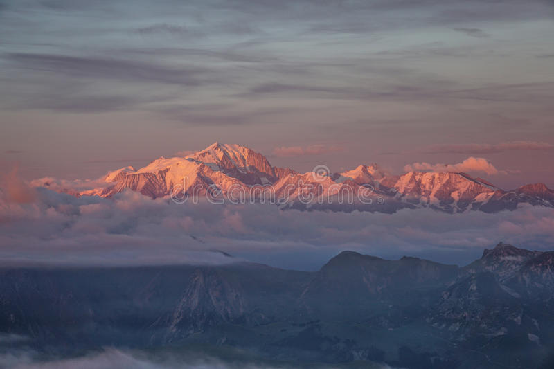 Mont Blanc Sunset stock images