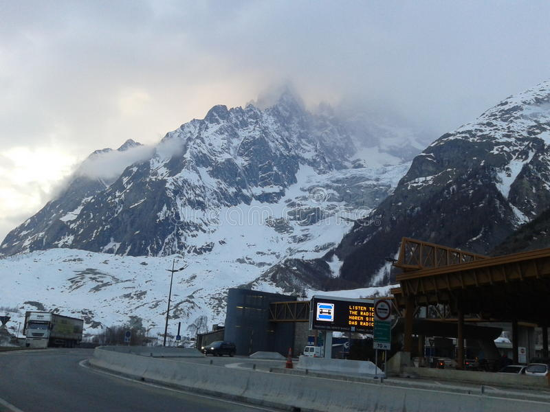 Mont Blanc-tunnelingang royalty-vrije stock foto's