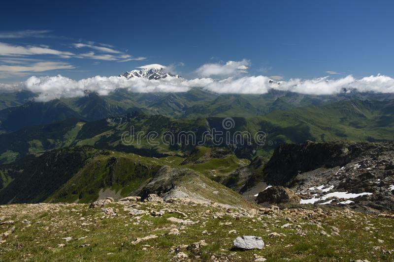 Mont Blanc view from the le Grand Mont royalty free stock photos