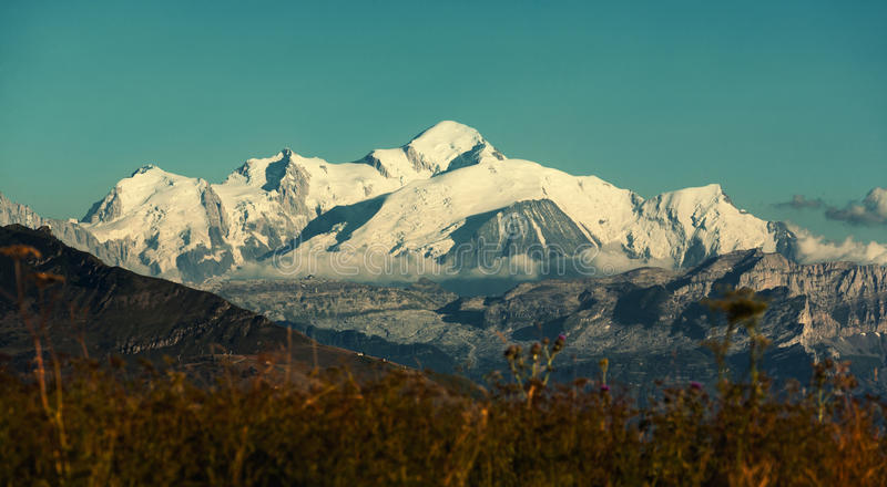 Mont Blanc. View of Mont Blanc mountain covered with snow royalty free stock images