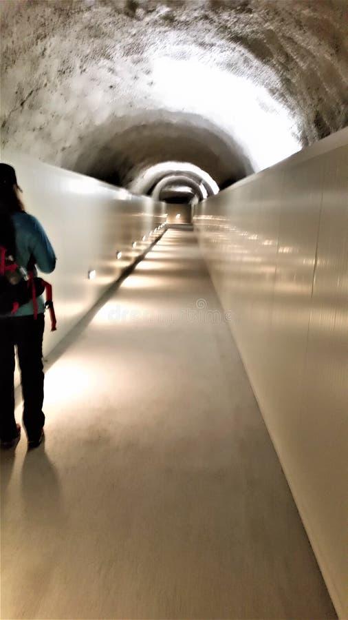 Mont Blanc Zamraża tunel buda blisko szczyt wędrówki zdjęcie stock