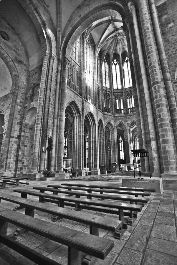 Mont Saint Michel Abbey Chapel royaltyfria bilder
