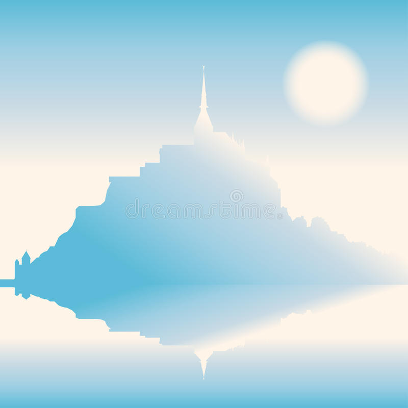 Mont Saint-Michel Abbey i morgon, Frankrike stock illustrationer