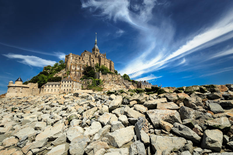 Mont Saint Michel. Landscape with Mont Saint Michel abbey in Normandy, France royalty free stock photos