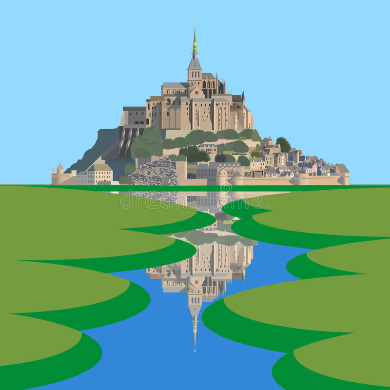 Mont Saint-Michel Abbey och Couesnon flod vektor illustrationer