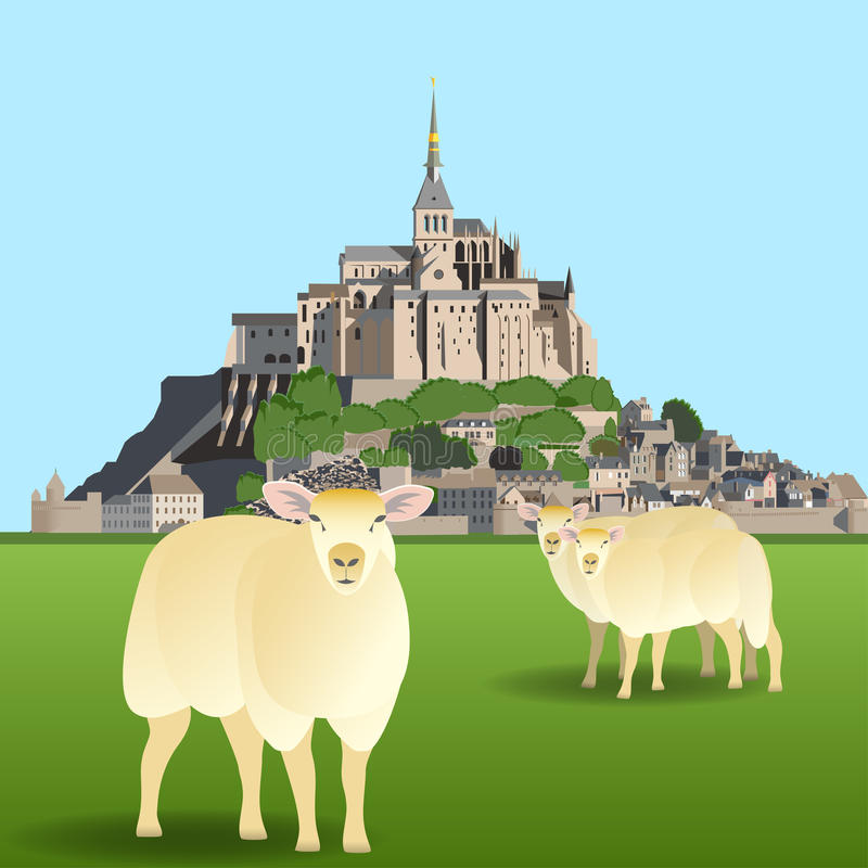Mont Saint-Michel Abbey och får på en beta vektor illustrationer