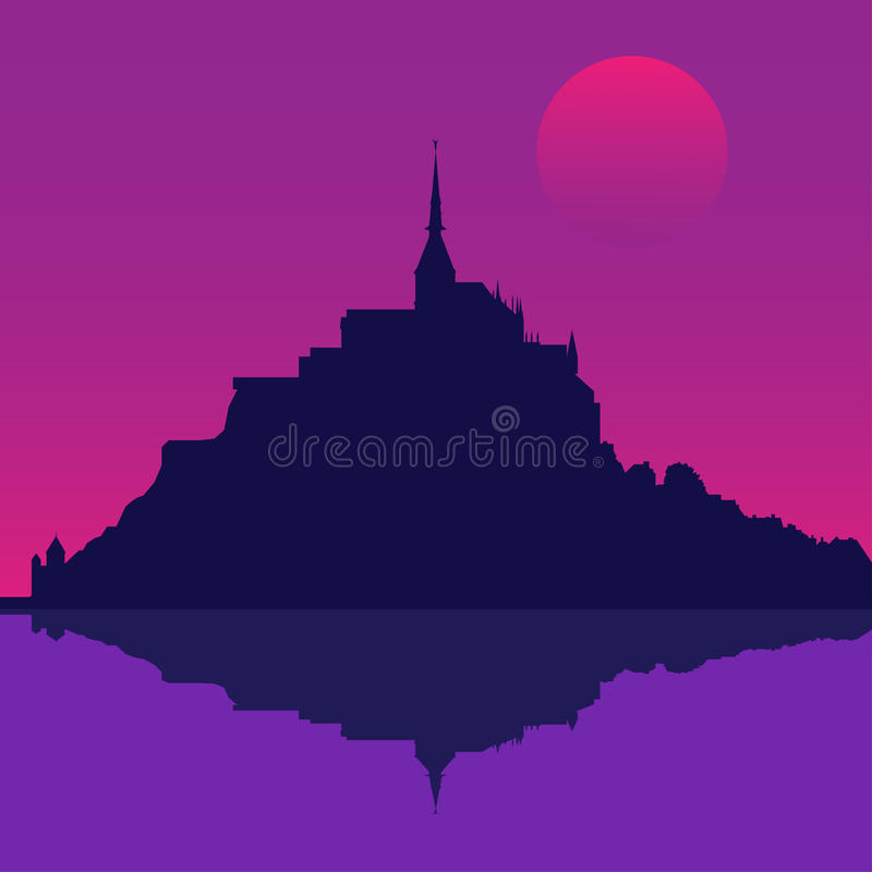 Mont Saint-Michel Abbey på natten, Frankrike stock illustrationer