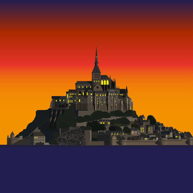 Mont Saint-Michel Abbey på solnedgången, Frankrike royaltyfri illustrationer