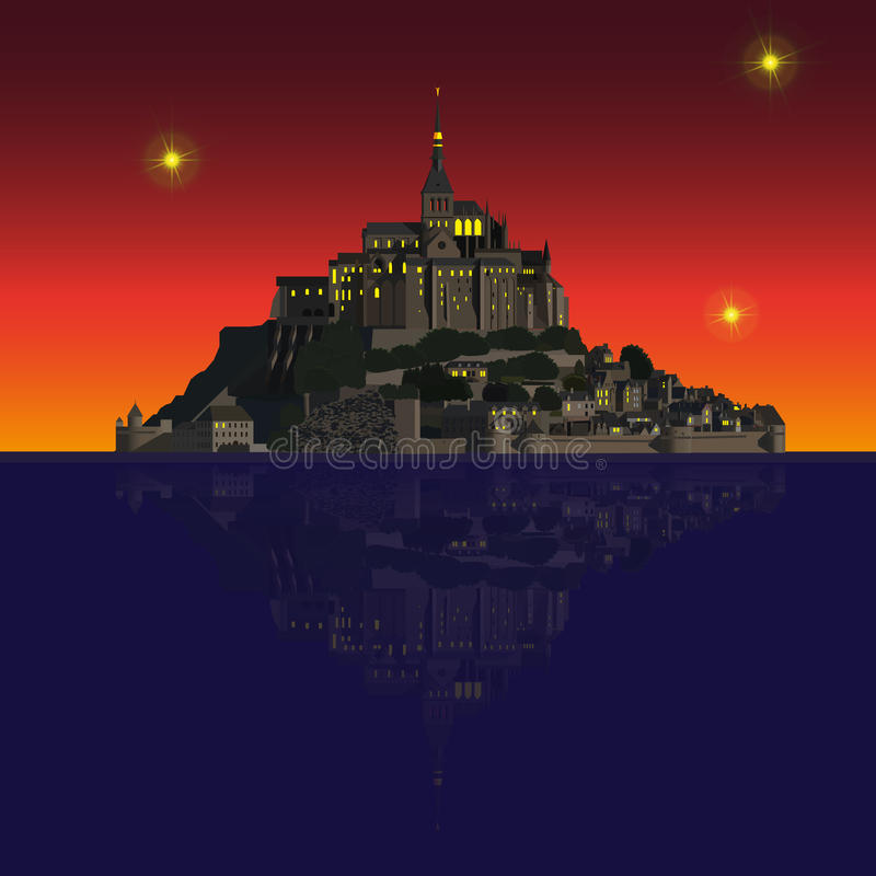 Mont Saint-Michel Abbey vid natt, Frankrike stock illustrationer