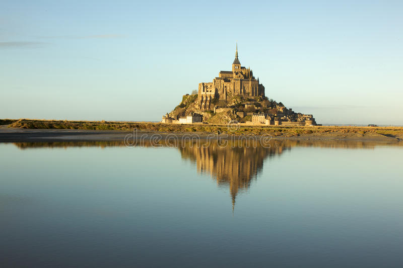 Mont Saint-Michel at dusk in Normandy, France