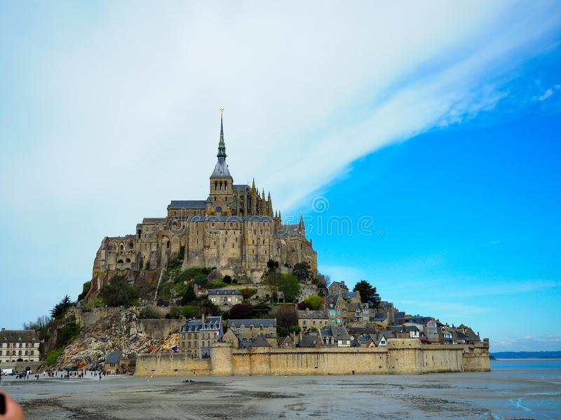 Mont Saint-Michel of France. Travelers want to see it once stock photography