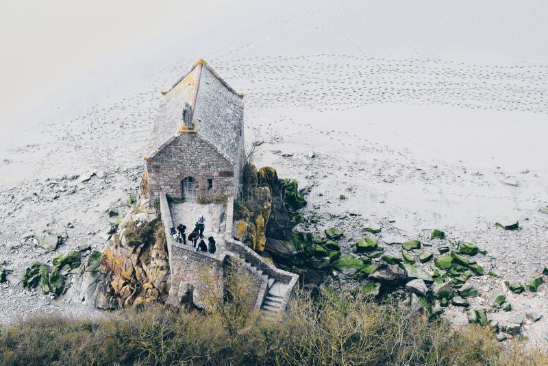 Mont Saint Michel Frankrike 2017 mars royaltyfria bilder