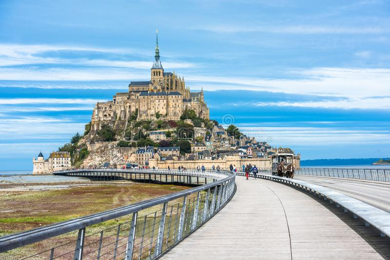 Mont-Saint-Michel, an island with the famous abbey, Normandy, Fr stock images
