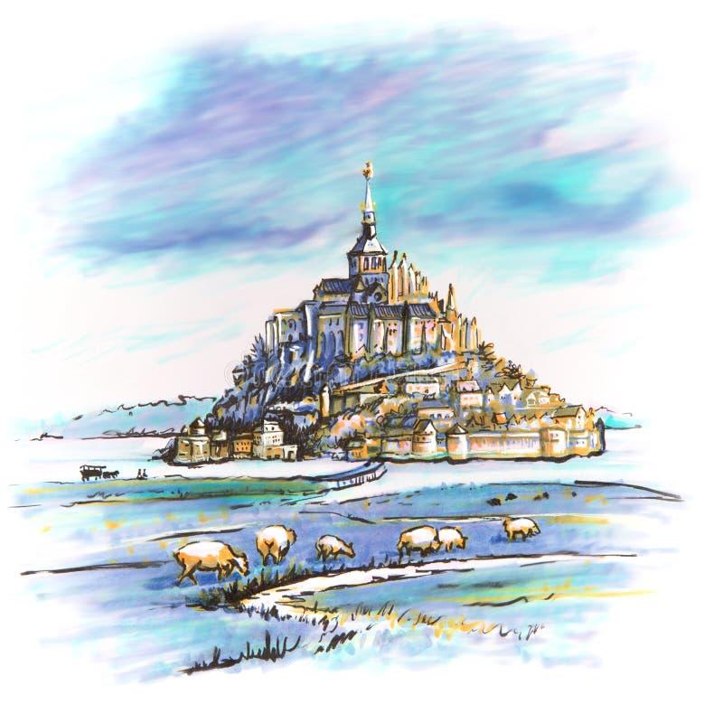 Mont Saint-Michel, la Bretagne, France illustration libre de droits