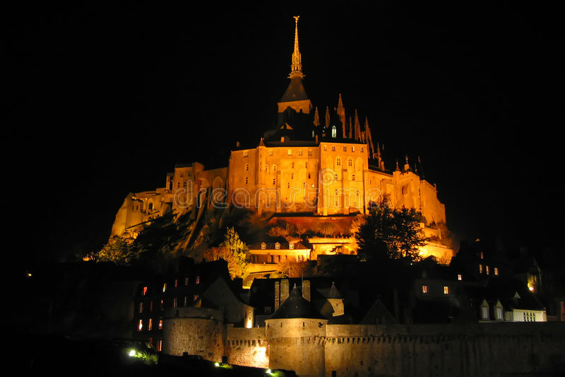 Download Mont Saint Michel by night stock image. Image of architecture - 4292247