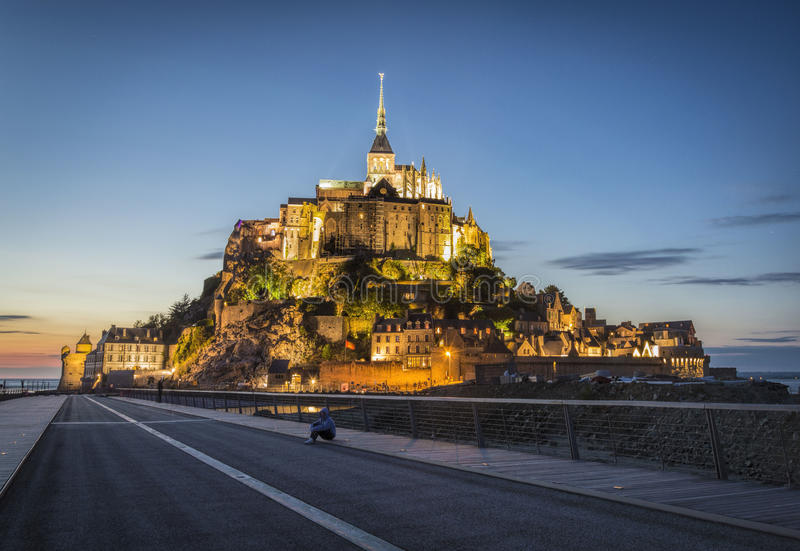 Mont Saint Michel at night stock photography