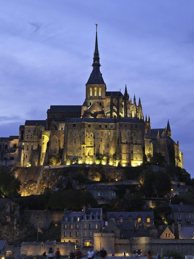 Mont saint michel. Night time shot of Mont Saint Michel, France, Europe royalty free stock image