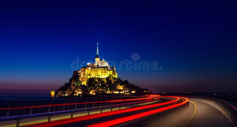Mont Saint Michel. Night view of the Mont Saint Michel abbey. Normandy, France royalty free stock images