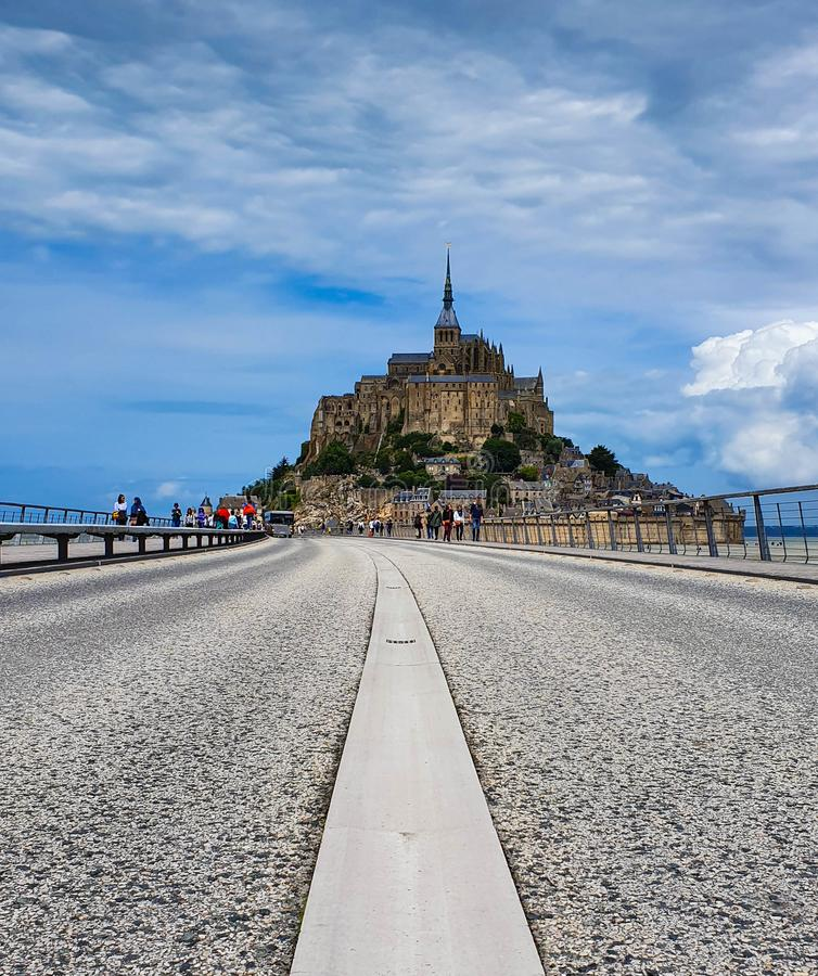 Mont Saint-Michel Normandie, nordliga Frankrike Sommar 2019 royaltyfria foton