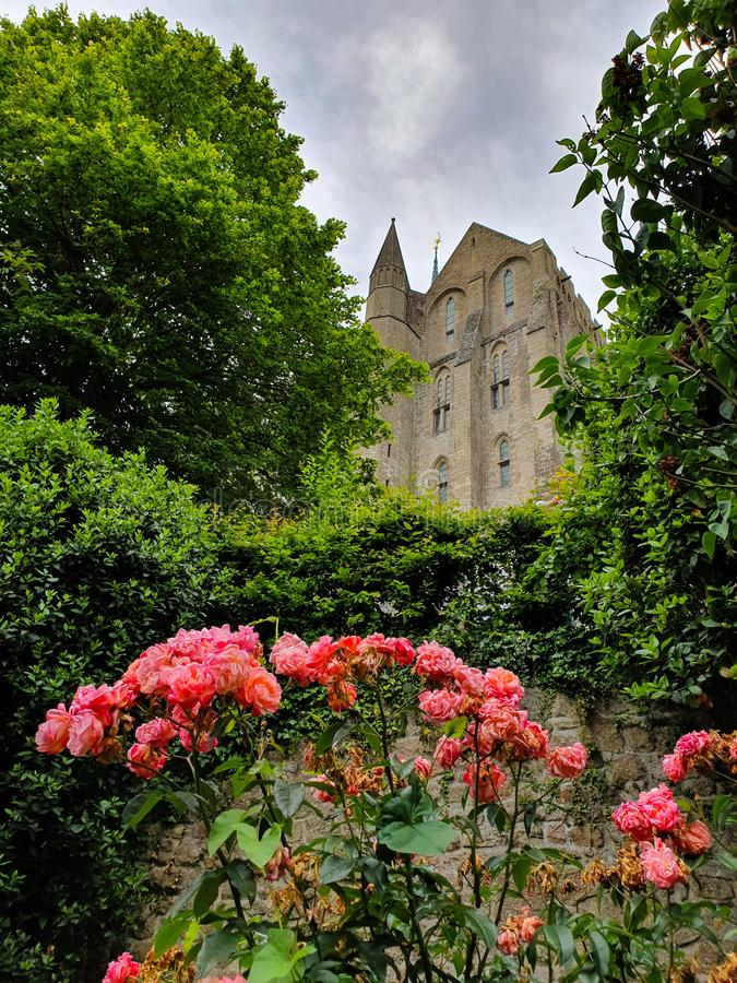 Mont Saint-Michel Normandie, nordliga Frankrike Sommar 2019 royaltyfria bilder