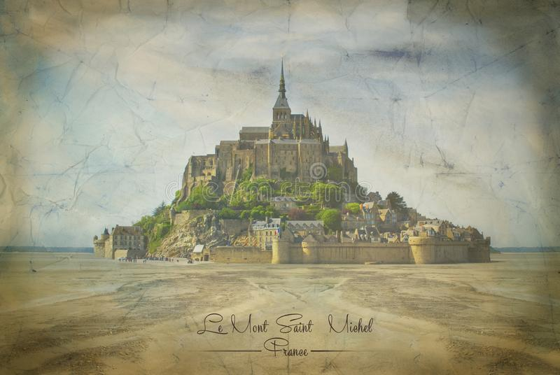 Mont Saint Michel på tappningpapper i Normandie vektor illustrationer