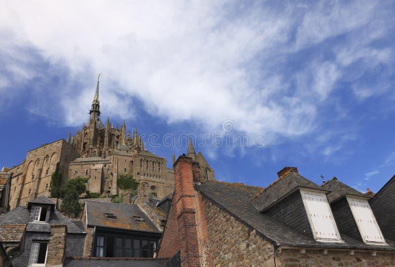 Mont Saint Michel skylines stock images