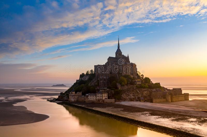 Mont Saint-Michel view in the sunset light. Normandy, France royalty free stock images
