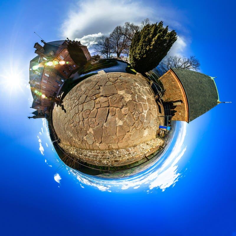Mont Sainte Odile poco panorama sferico del pianeta fotografia stock libera da diritti