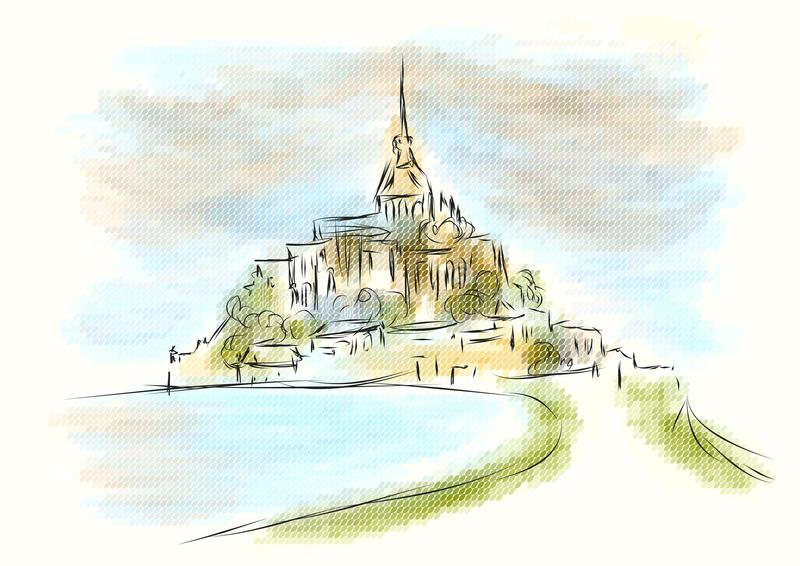 Mont Sanktt Michel royaltyfri illustrationer