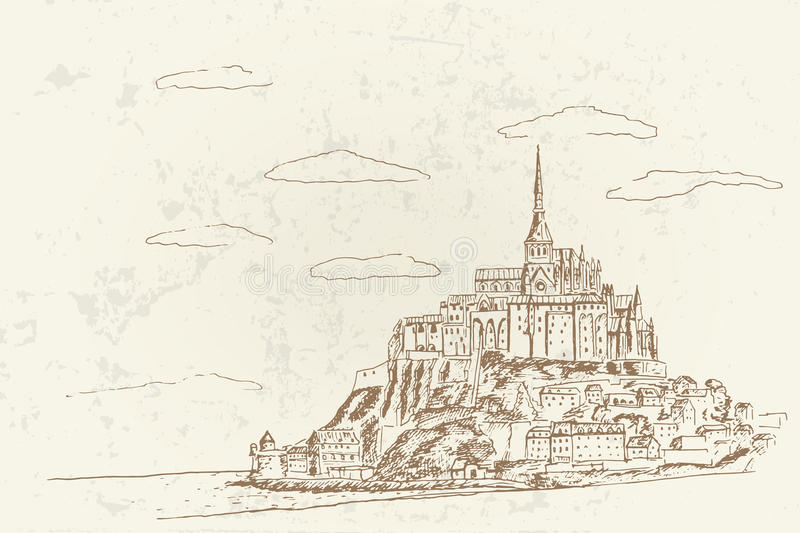 Mont Sanktt Michel france normandy royaltyfri illustrationer