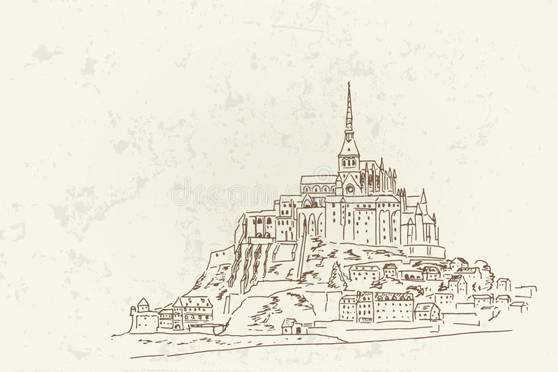 Mont Sanktt Michel france normandy stock illustrationer