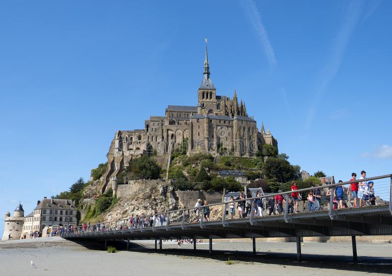 Mont St米谢尔修道院  观点的著名勒蒙圣米歇尔,布里坦尼诺曼底法国 库存图片