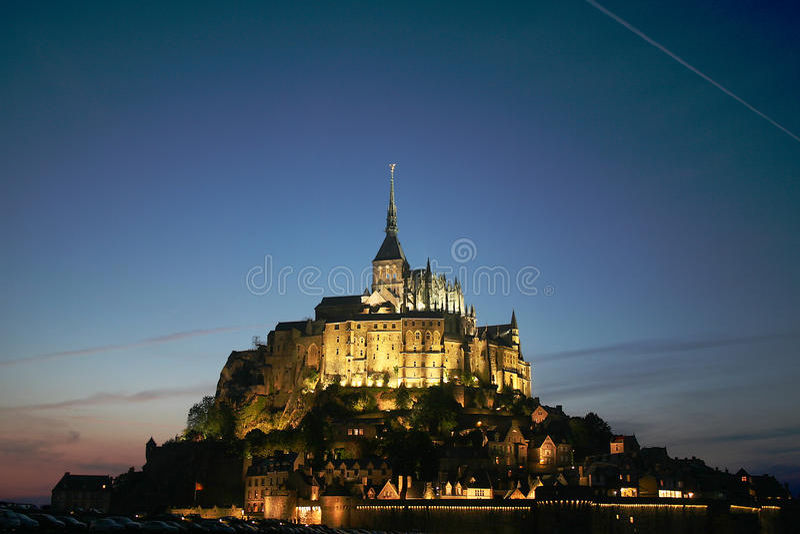 Download Mont St Michel stock image. Image of lighting, nightfall - 13989485