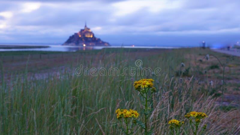 Mont St Michel z wodnym odbiciem podczas nighttime obrazy royalty free