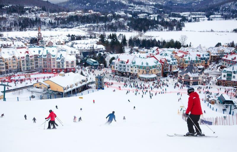 Mont-Tremblant滑雪胜地,魁北克,加拿大 库存照片