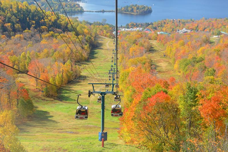 Mont Tremblant with Fall Foliage, Quebec, Canada. Mont-Tremblant Gondola in fall with fall foliage, from top of Mont Tremblant, Quebec, Canada stock photos
