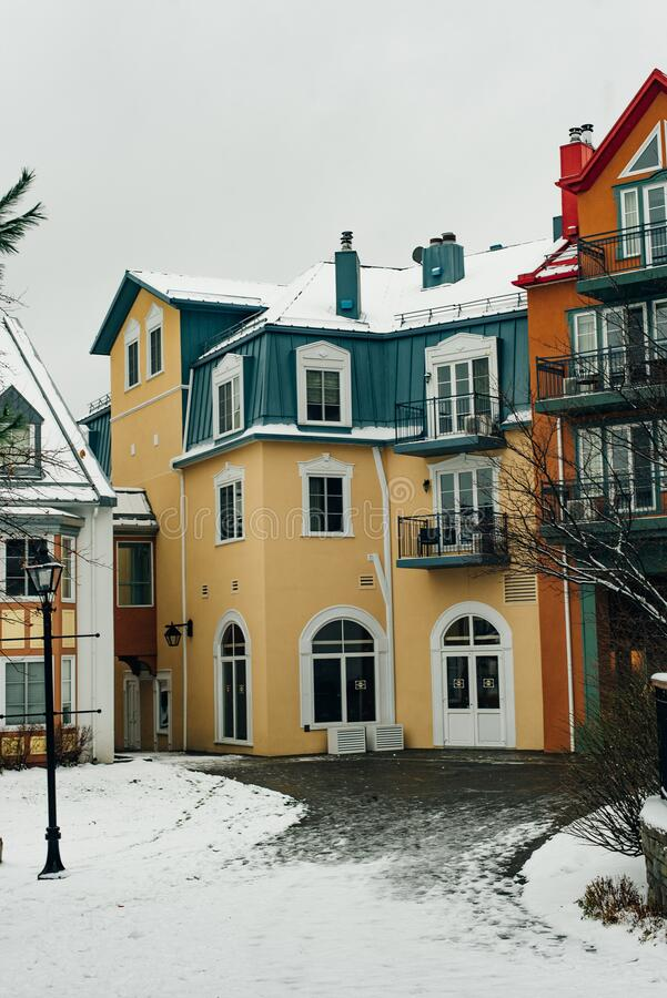 MONT-TREMBLANT, QC, CANADA - FEBRUARY 2020 Mont-Tremblant village in winter.  royalty free stock images