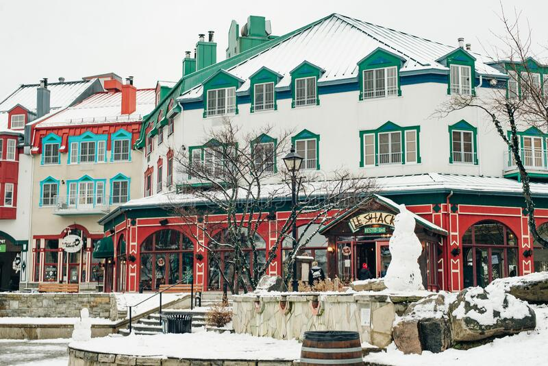 MONT-TREMBLANT, QC, CANADA - FEBRUARY 2020 Mont-Tremblant village in winter.  royalty free stock image