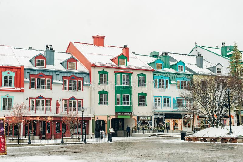 MONT-TREMBLANT, QC, CANADA - FEBRUARY 2020 Mont-Tremblant village in winter.  stock photos