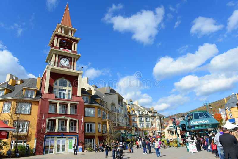 Mont-Tremblant, Quebec, Canada. Colorful Houses at villiage of Mont-Tremblant, Quebec, Canada stock image
