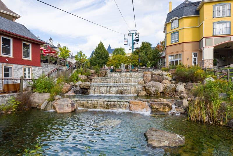 Mont-Tremblant village cascades royalty free stock image