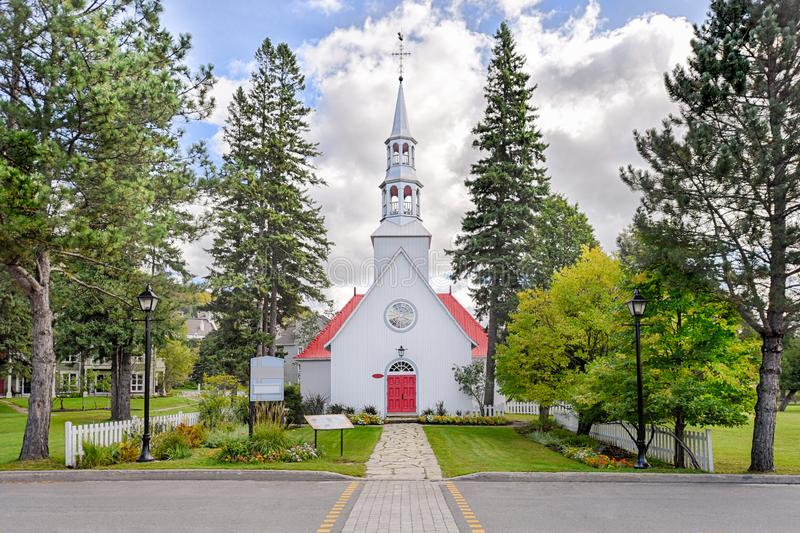 Mont-Tremblant village church front view royalty free stock images