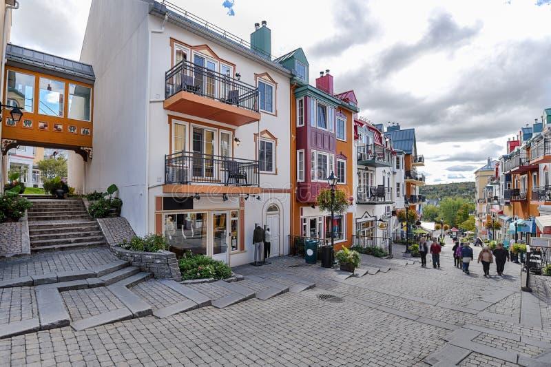 Mont-Tremblant village main shopping street left. Side stock photos