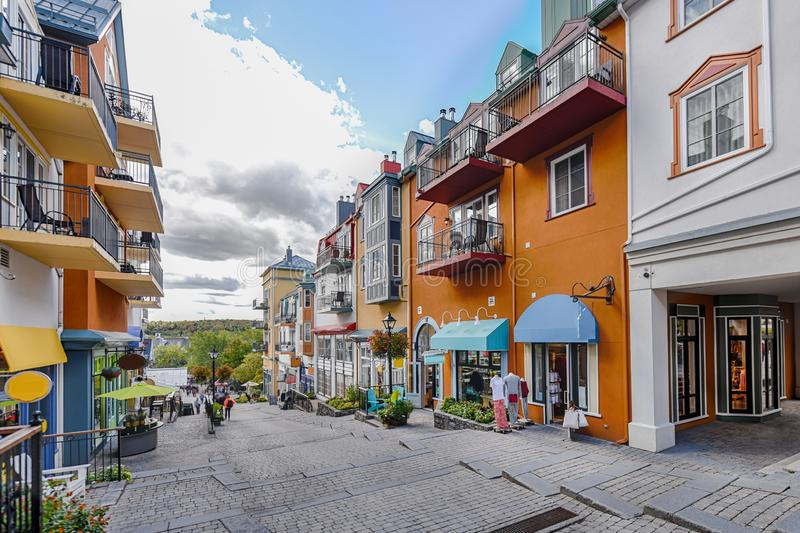 Mont-Tremblant village main shopping street right. Side stock photos