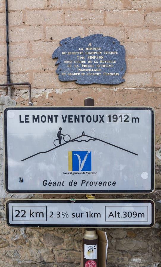 Mont Ventoux kolarstwa Drogowy sygnał obrazy royalty free