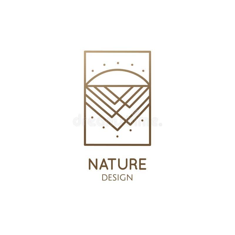 Montaña abstracta del logotipo en estilo linear ilustración del vector